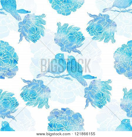 Seamless pattern with little birds and peonies