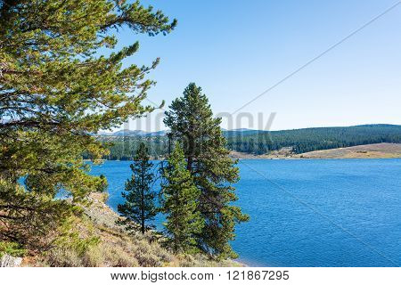 View of Meadowlark Lake and pine trees in Bighorn National Forest in Wyoming