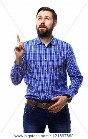Excited man pointing a great idea - isolated over white background