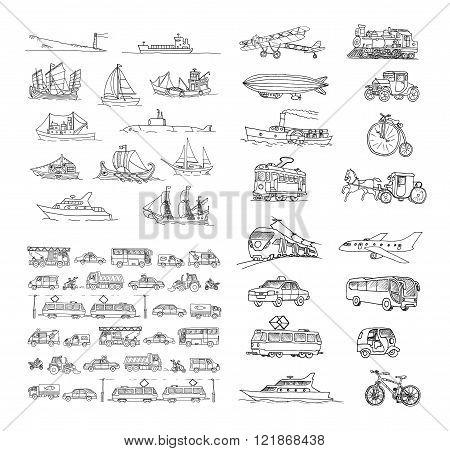 Big set with different transport. Passenger transport. Traffic. Retro transport.  Set with boats.  I