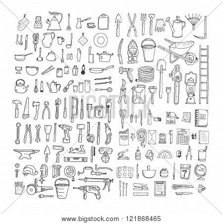 Big household objects set. Kitchenware. Set  of stationery. Garden tools. Construction tool collecti