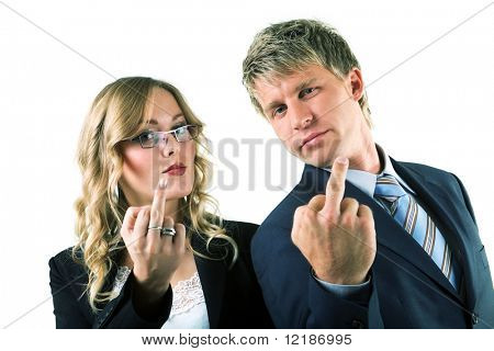 Two businesspeople (male / female) showing the finger