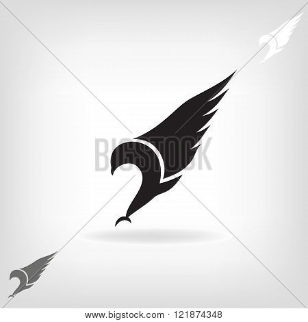 Black eagle with expanded wings