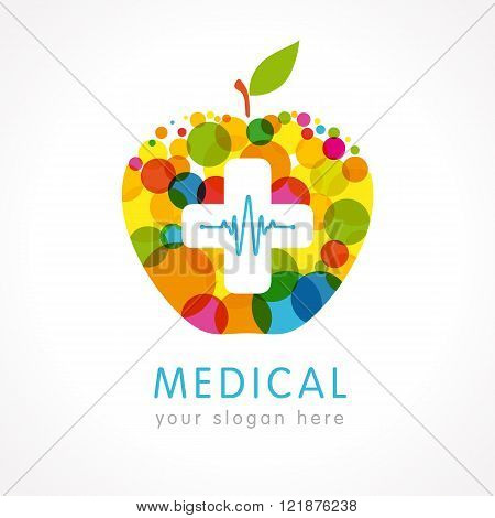 Medical company colored apple plus logo. Medical pharmacy white cross on the colorful apple logo design template