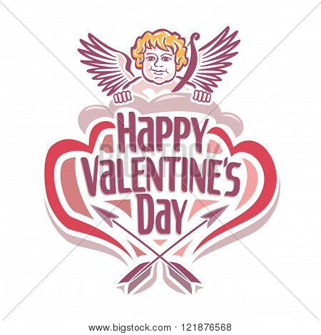 Vector illustration on the theme of Valentine's day with Cupidon