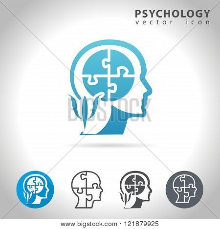 Psychology icon set collection with human head and puzzled mind, vector illustration