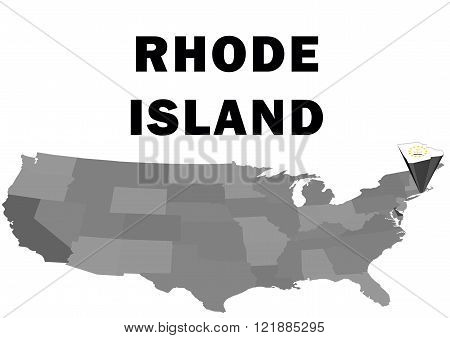 Outline map of the United States with the state of Rhode Island raised and highlighted with the state flag