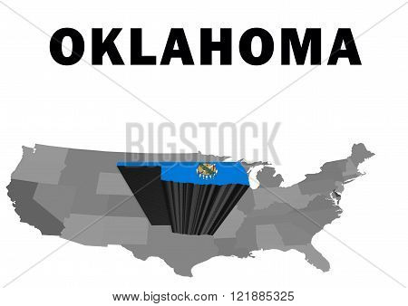 Outline map of the United States with the state of Oklahoma raised and highlighted with the state flag