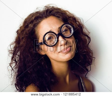 bookworm, cute young woman in glasses, curly hair, teenage girl student