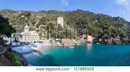 The Abbey of San Fruttuoso is a medieval Catholic abbey on the coast near Portofino, Liguria, Italy. The bay of Capodimonte is a famous travel spot for the tourist visiting Italy.
