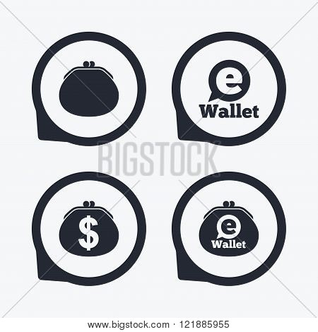 Electronic wallet icons. Dollar cash bag sign. eWallet symbol. Flat icon pointers. poster