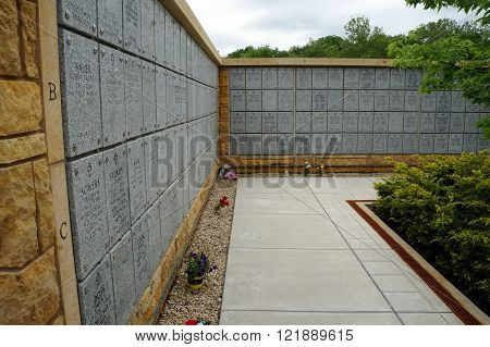 ELWOOD, ILLINOIS / UNITED STATES: MAY 31, 2015: A columbarium at the Abraham Lincoln National Cemetery stores the cinerary remains of American military service members.
