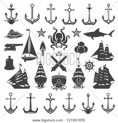 Nautical Vector Design Elements. Anchors and Ships Silhouettes Isolated On White Background. Vector objects for Labels, Badges, Logos Design. Marine, Ocean Cruise Icons, Helm and Octopus Symbols.