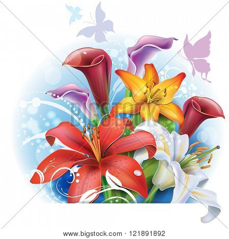Bouquet of color Lilies and Calla