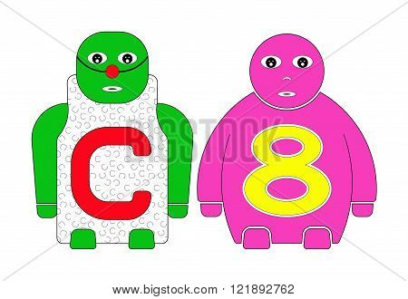 CHILDREN'S NAMES C and EIGHT (8) STANDING TOGETHER