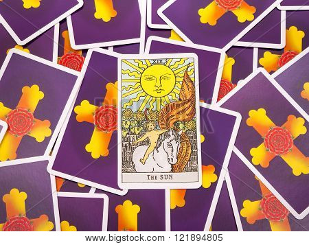 Samara Russia-March 9 2016: Tarot cards Tarot the sun card in the foreground.