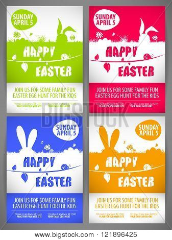 Happy easter colorful vector illustration Flyer templates Set with the big-eared rabbits silhouettes on the meadow