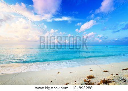 Idyllic Caribbean beach in Playa del Carmen at sunrise, Mexico poster