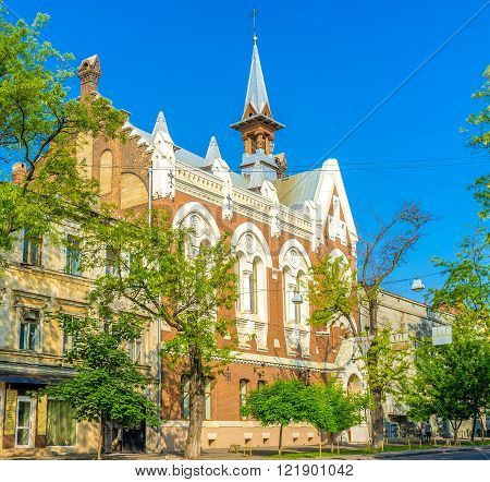 Due to the dense buildings in old part of the city the Evangelical Presbyterian Church is built in the house rows Odessa Ukraine.