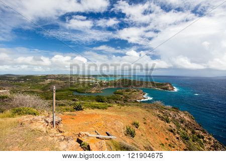 Beautiful view from Shirley Heights on tropical Antigua island in Caribbean