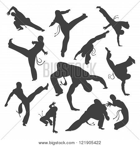 Isolated black and white silhouettes capoeira dancer Isolated on white. Vector illustration set for