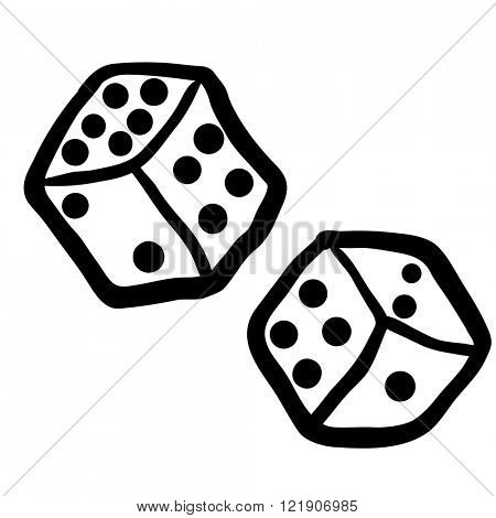 simple black and white freehand drawn dices