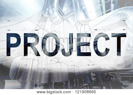Project Word Over Blueprint Drawing Combined With Picture Of Equpment