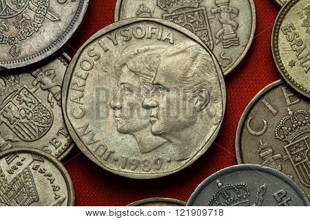 Coins of Spain. King Juan Carlos I and Queen Sofia of Spain depicted in the Spanish 500 peseta coin (1989).
