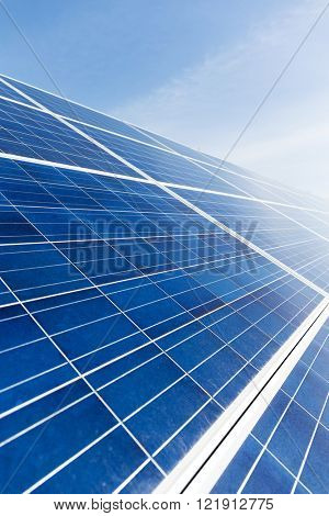 Solar energy panel uner blue sky