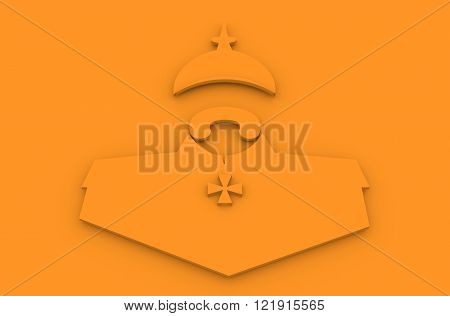 German infantryman during the first world war. 19th century army uniform. Abstract simplicity portrait.3D illustration