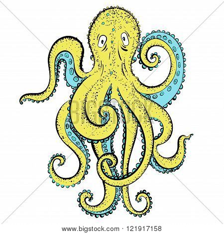 Yellow cartoon octopus.