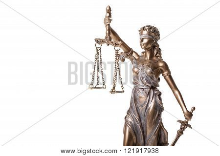 Close-up of Themis statue on white background