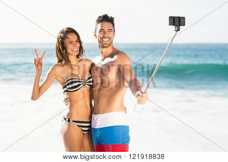 Couple taking a selfie on a sunny day