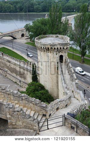 AVIGNON, FRANCE - MAY 04, 2015: Top view on Pont d'Avignon and Rhone river in Avignon France