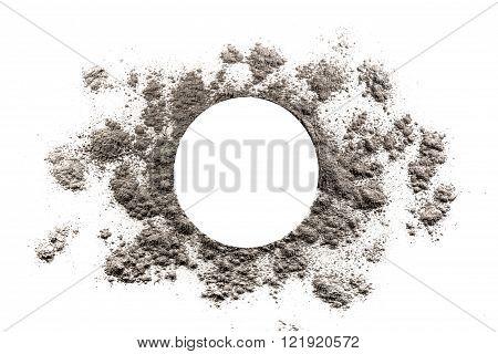 Circle and sun burst shape illustration made in grey ash