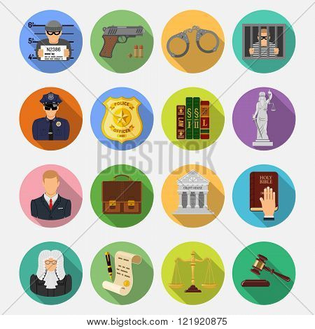 Crime and Punishment Flat Icons