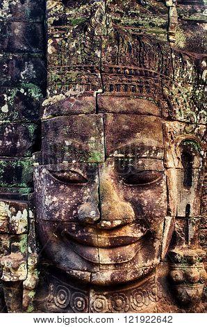 Stone face at Bayon Angkor Thom Cambodia