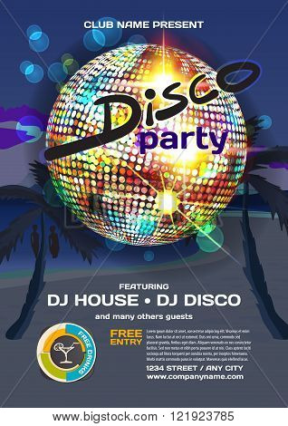 Vector summer party invitation disco style. Night beach palm trees disco ball posters invitations or flyers. Vector template night summer party poster.