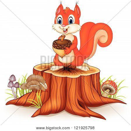 Vector illustration of Cartoon squirrel holding pinecone on tree stump
