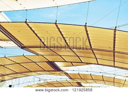 Futuristic roof on the exhibition space. Architectural element.