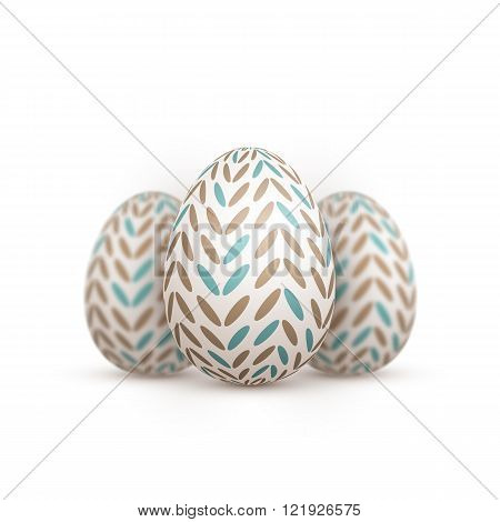Realistic Vector Easter Egg. Painted Vector Egg Set with Shallow