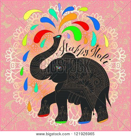original Happy Holi design with elephant on floral indian backgr