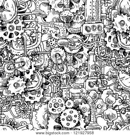 steampunk seamless pattern