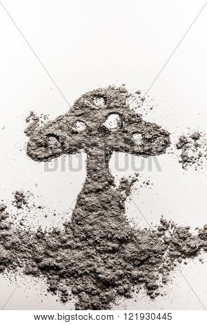 Mushroom shape illustration made in grey scattered ash