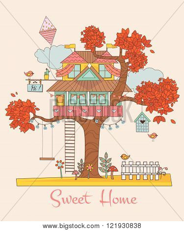 Sweet Home. Card with the Tree House. Background with cute birds and flowers. vector illustration