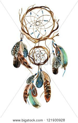Dreamcatcher with feathers. Watercolor ethnic dreamcatcher. Hand painted illustration for your design
