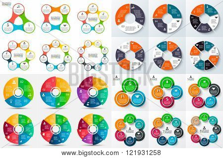 Big set of vector circle infographic.