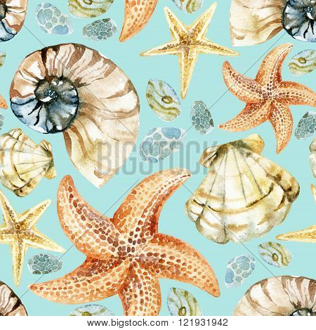 Watercolor nautical seamless pattern. Hand painted illustration with sea shells and starfishes