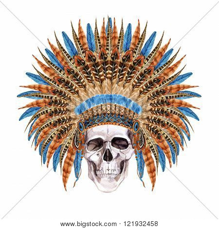Native American Headdress. Feathered war bonnet with skull. Watercolor skull in indian war bonnet. Hand painted illustration