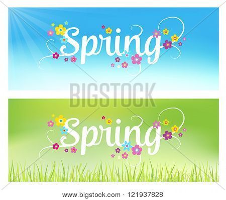 Spring background - banners with flowers. Can also be used as a sales poster. Seasonal vector illustration with typographical lettering.